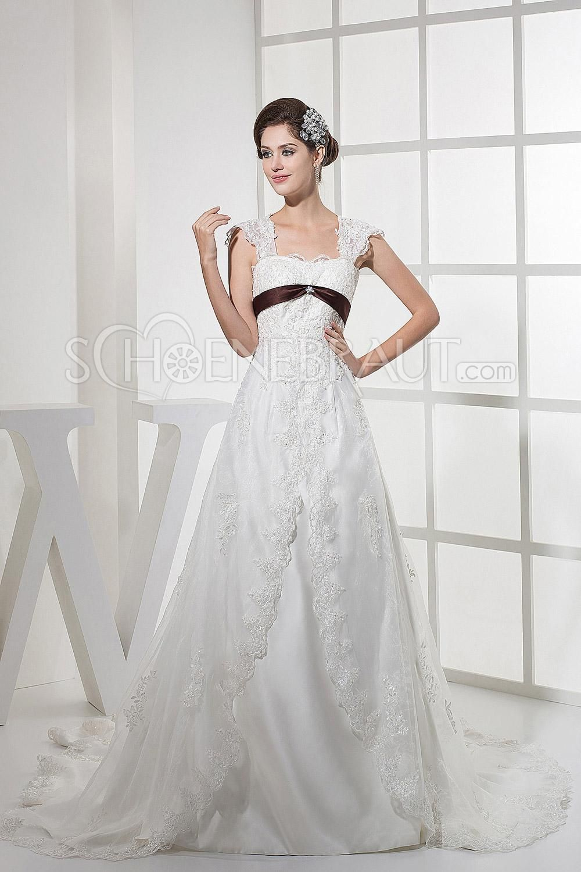 A-Linie Stickerei Schleife Satin Vintage Hochzeitskleid mit Kapelle ...
