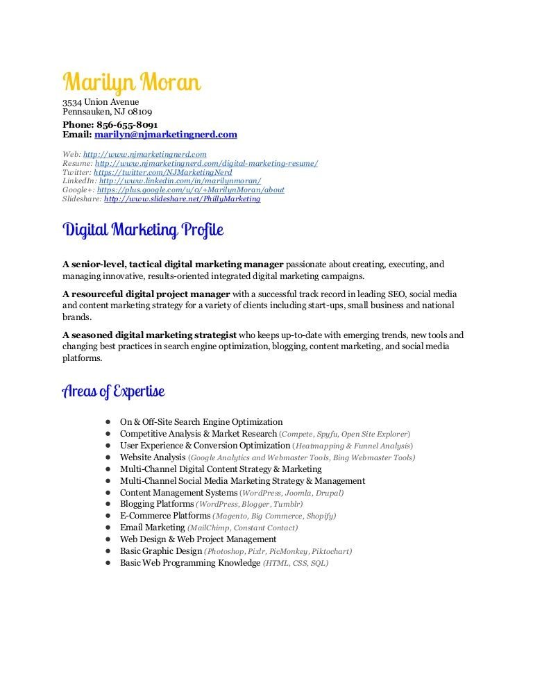 Marilyn Moran is a Digital Marketing Expert Her digital marketing - skills for marketing resume