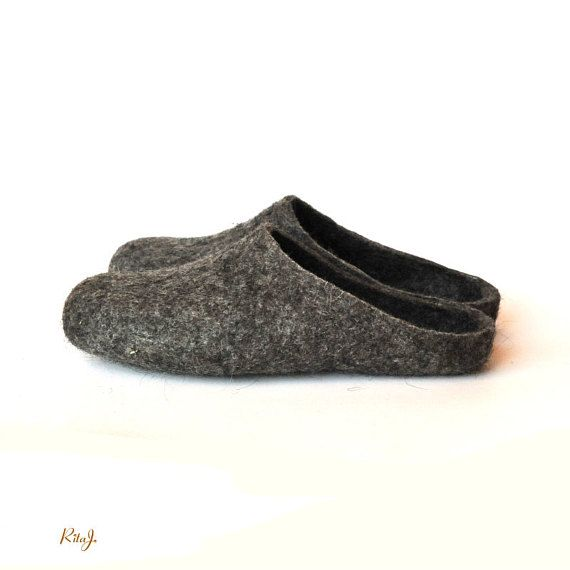 34f93d7ac8a62 Eco friendly natural grey colour handmade felted slippers - men in ...