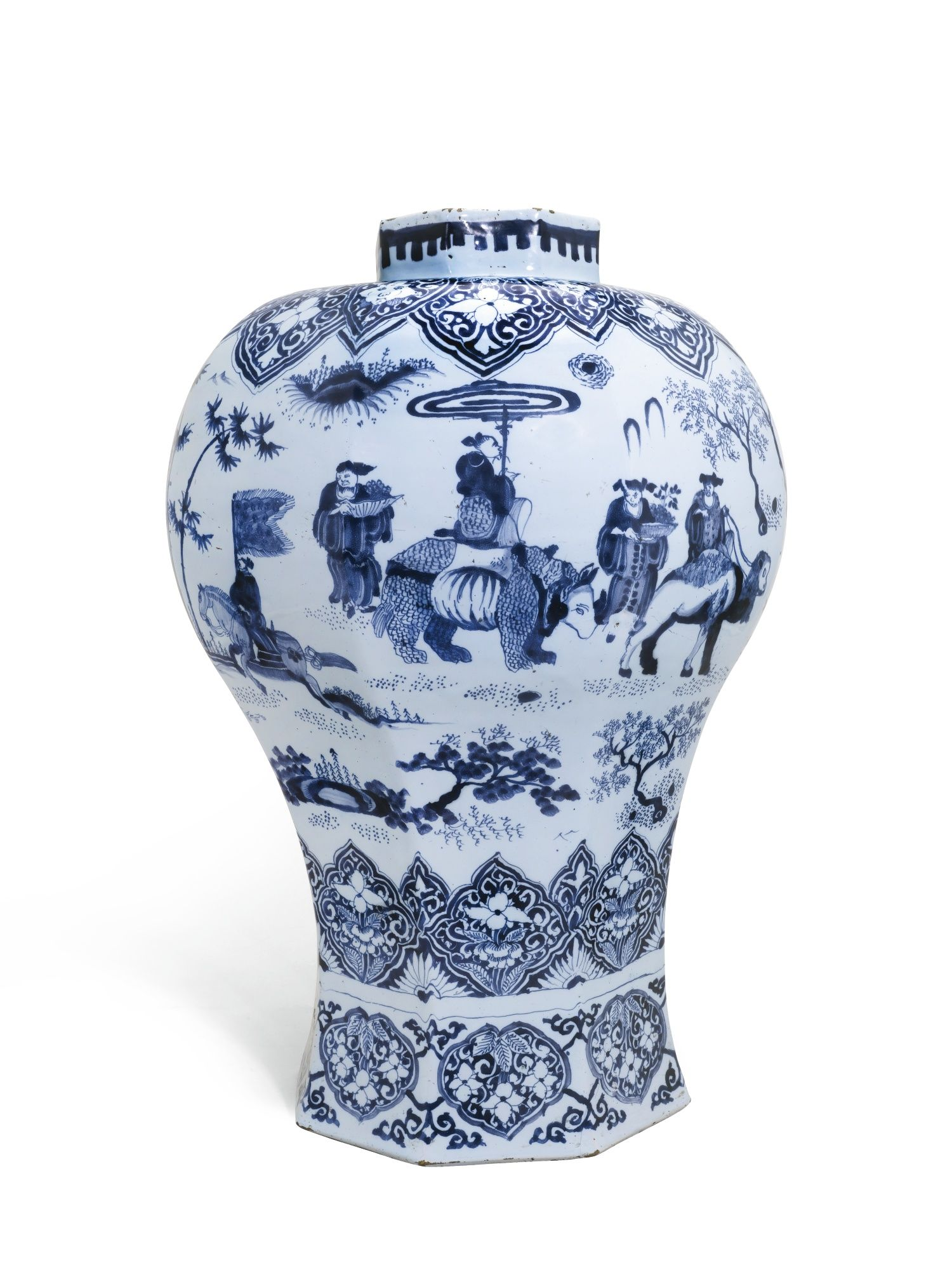 A Large Dutch Delft Blue And White Vase, Late Seventeenth