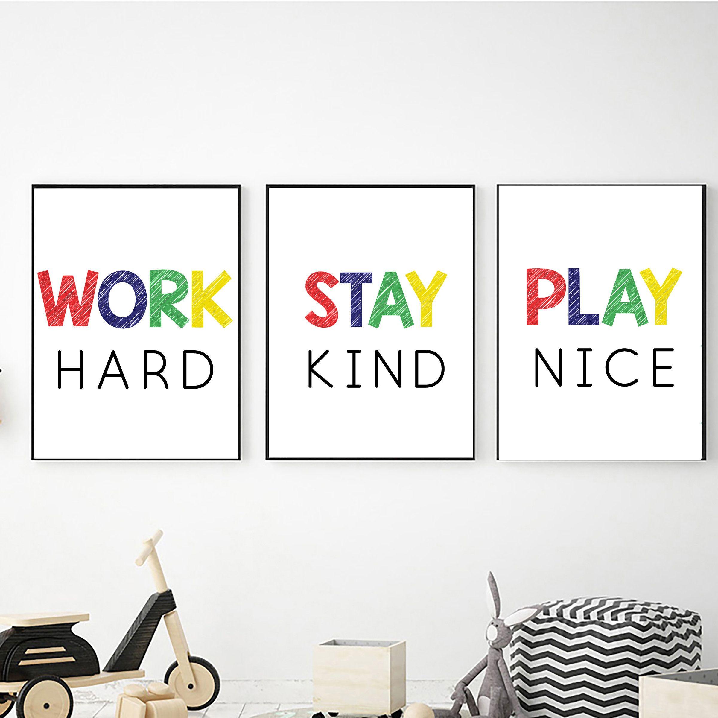 Classroom Wall Decor Digital Download Stay Kind Work Hard