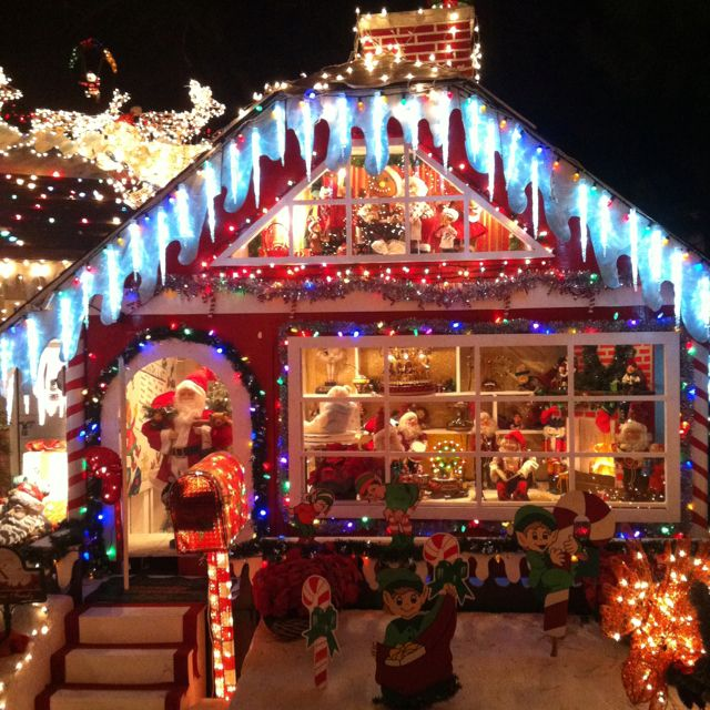 Outside Christmas Decorations::It's a life-size Gingerbread House ...
