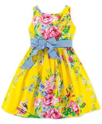 f77a4a78da9 Ralph Lauren Little Girls  Sateen Floral Dress