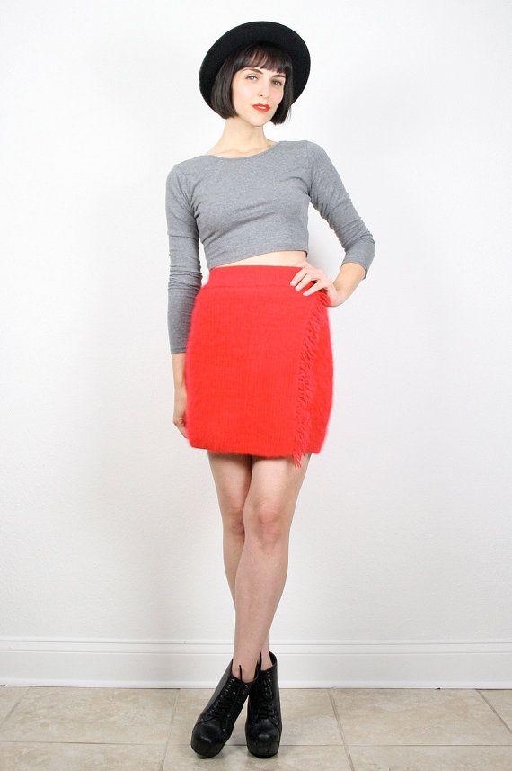 7fd69b24a Vintage 80s Skirt Red Skirt Mini Skirt Fuzzy Sweater Skirt Fringe ...