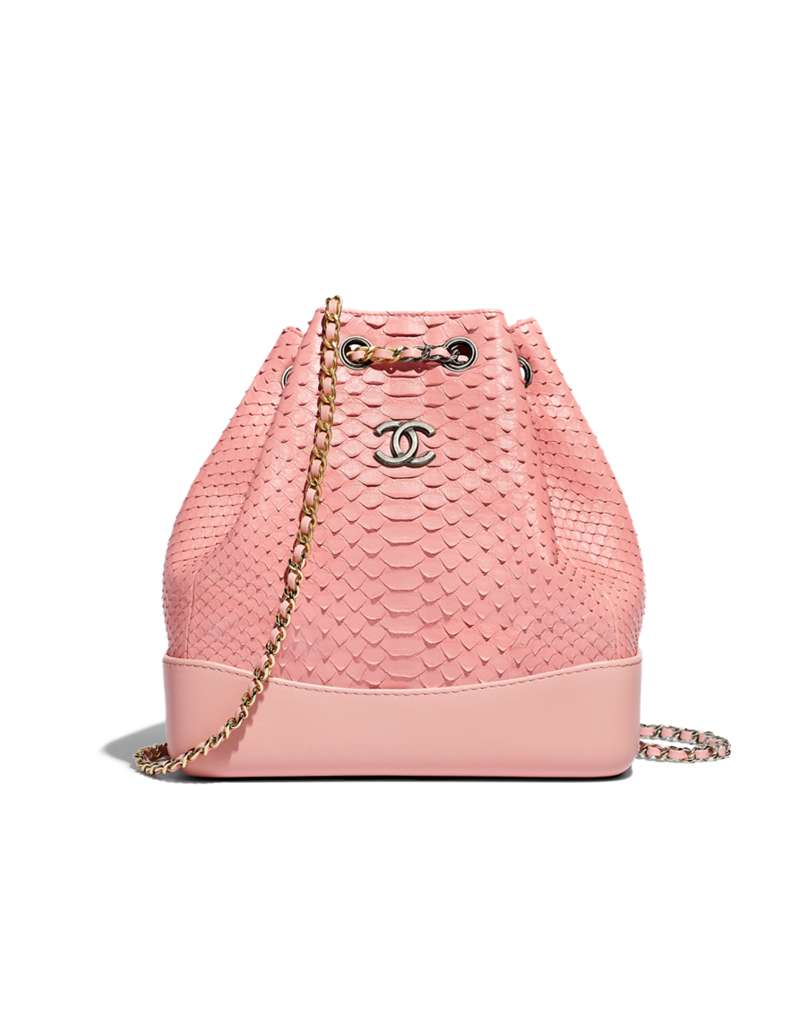 7dfbf843ee92 CHANEL's GABRIELLE backpack, python, calfskin, silver-tone & gold-tone  metal-pink - CHANEL