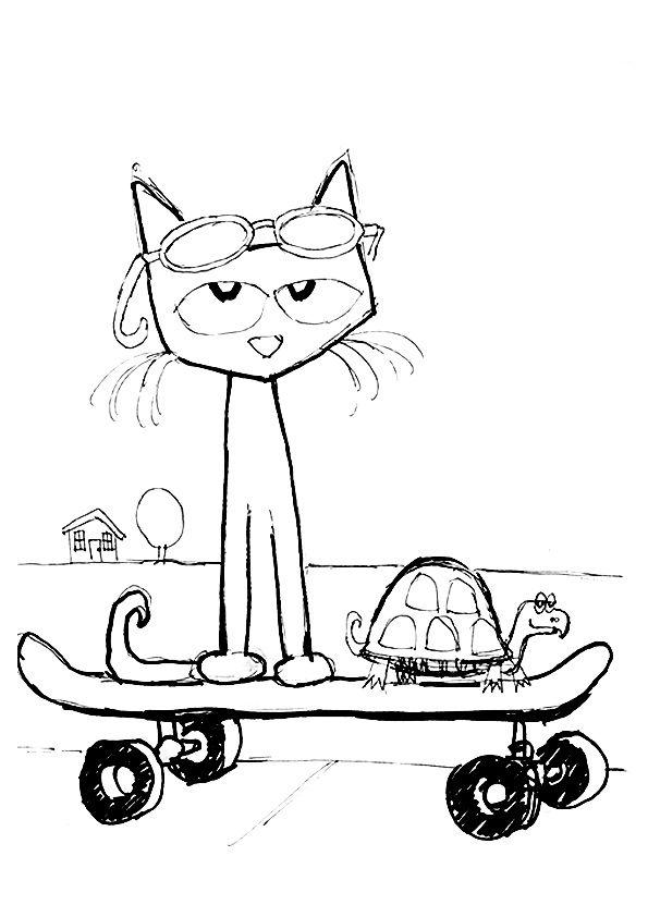 print coloring image Cat School and Kindergarten
