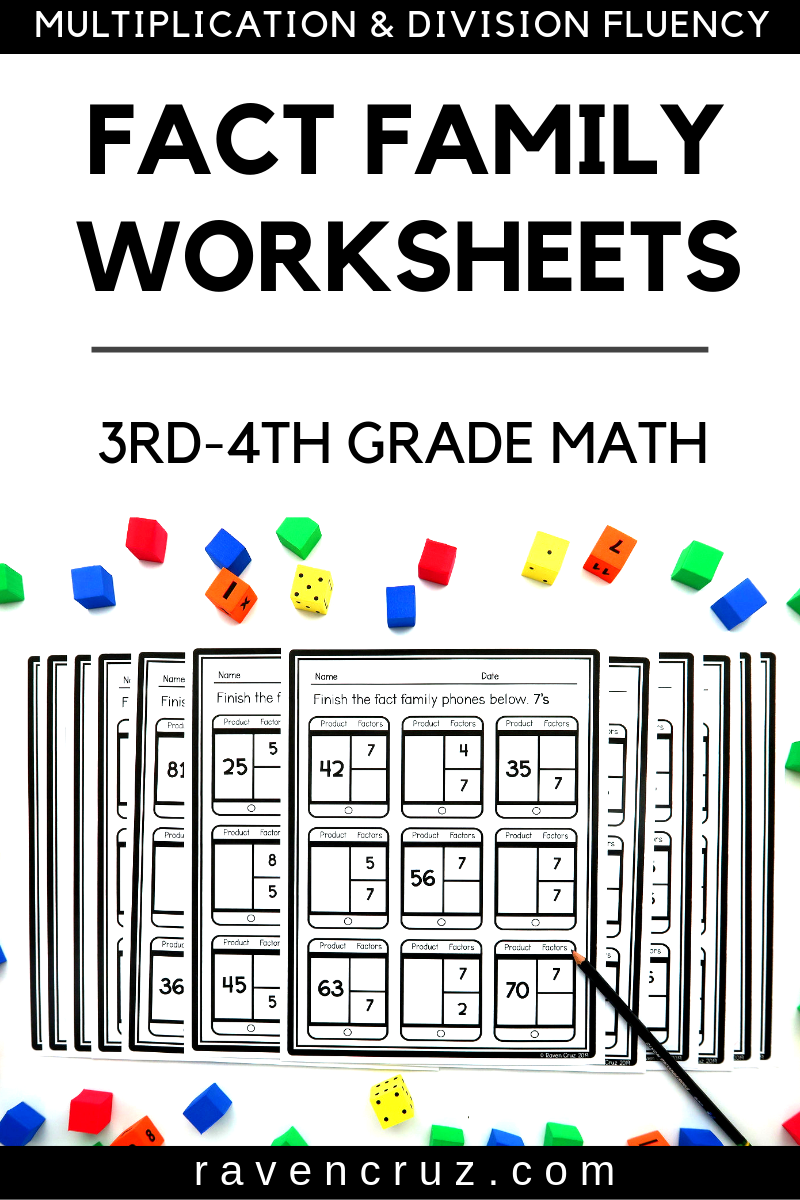 Fact Family Worksheets Multiplication and Division 3rd Grade   Fact family  worksheet [ 1200 x 800 Pixel ]