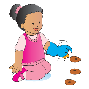 "Have child use bird puppet to peck the ""seed"" with the letter that makes the right sound. Our you could do this for sight words as well. Use the chant:     Little birdie, fly to the ground    And peck the letter that makes the sound [/s/]."