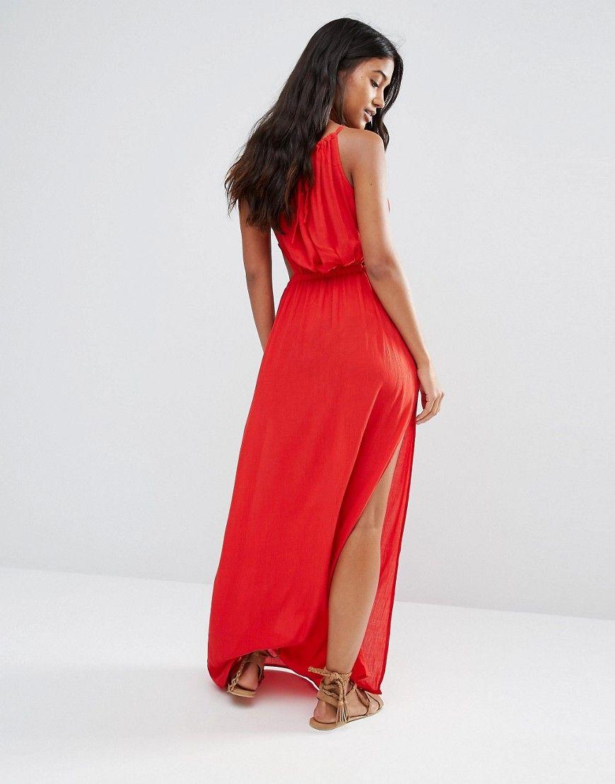 dd435278a7 Akasa Red Keyhole Cut Out Beach Maxi Dress   IN STORE 'AKASA' @ ASOS ...