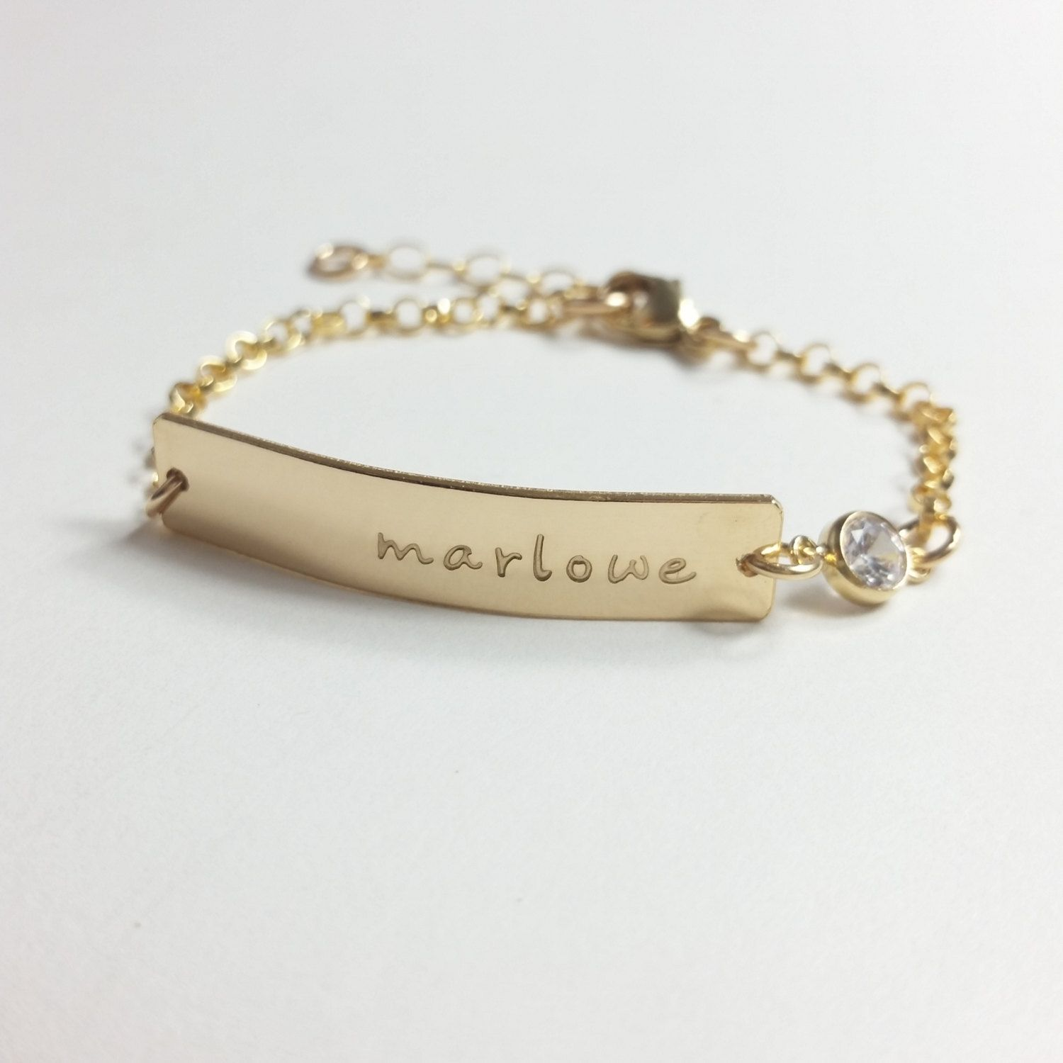 Baby Name Bracelet Gold Bar Baptism Christening Daughter Jewelry Silver Personalized