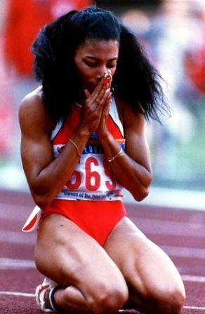 84,88 Olympic gold medalist Florence Joyner brought style to track and field with form-fitting bodysuits, six-inch fingernails and amazing speed.