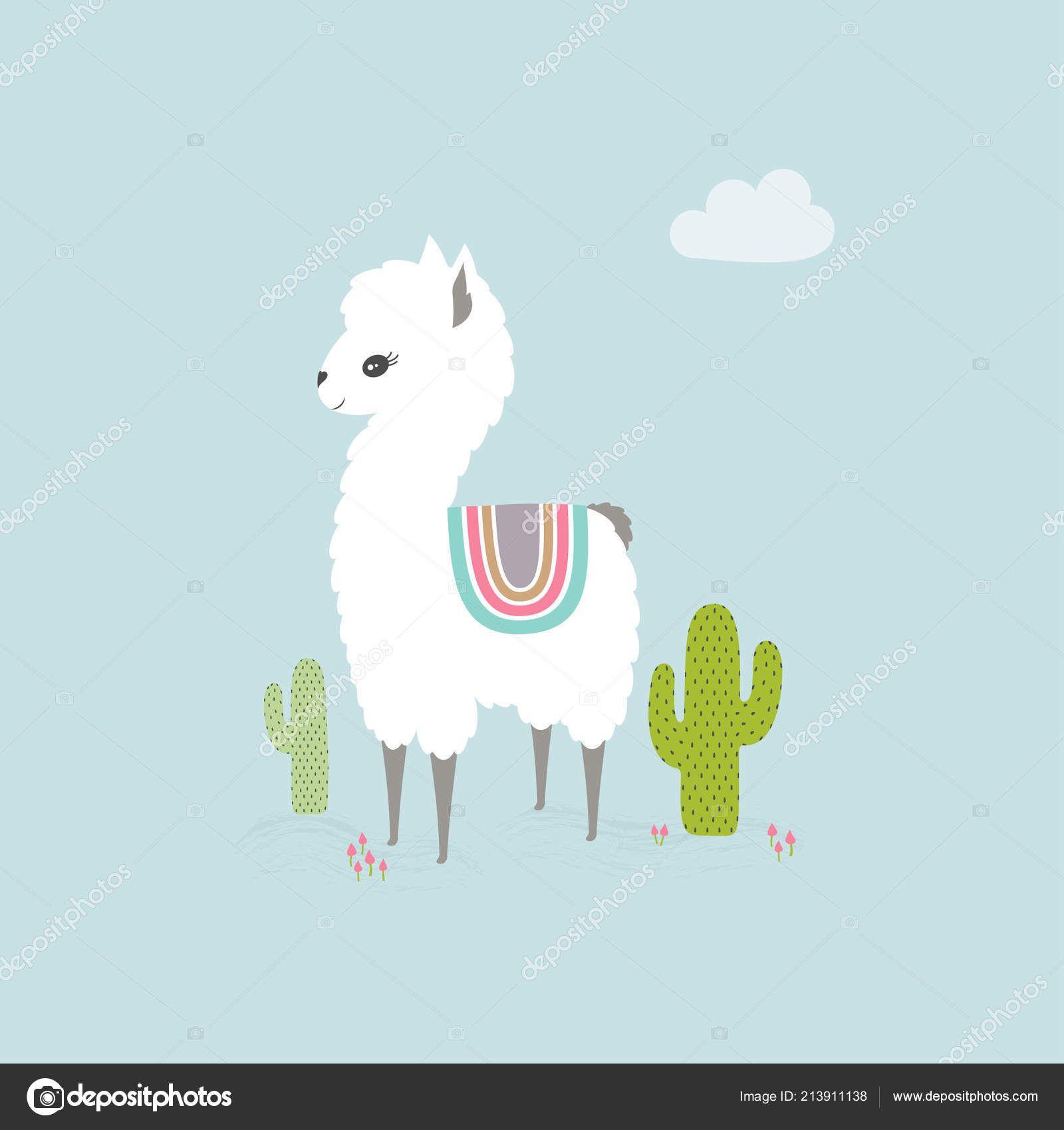 Cute Cartoon Llama Background Cacti With Images Cute