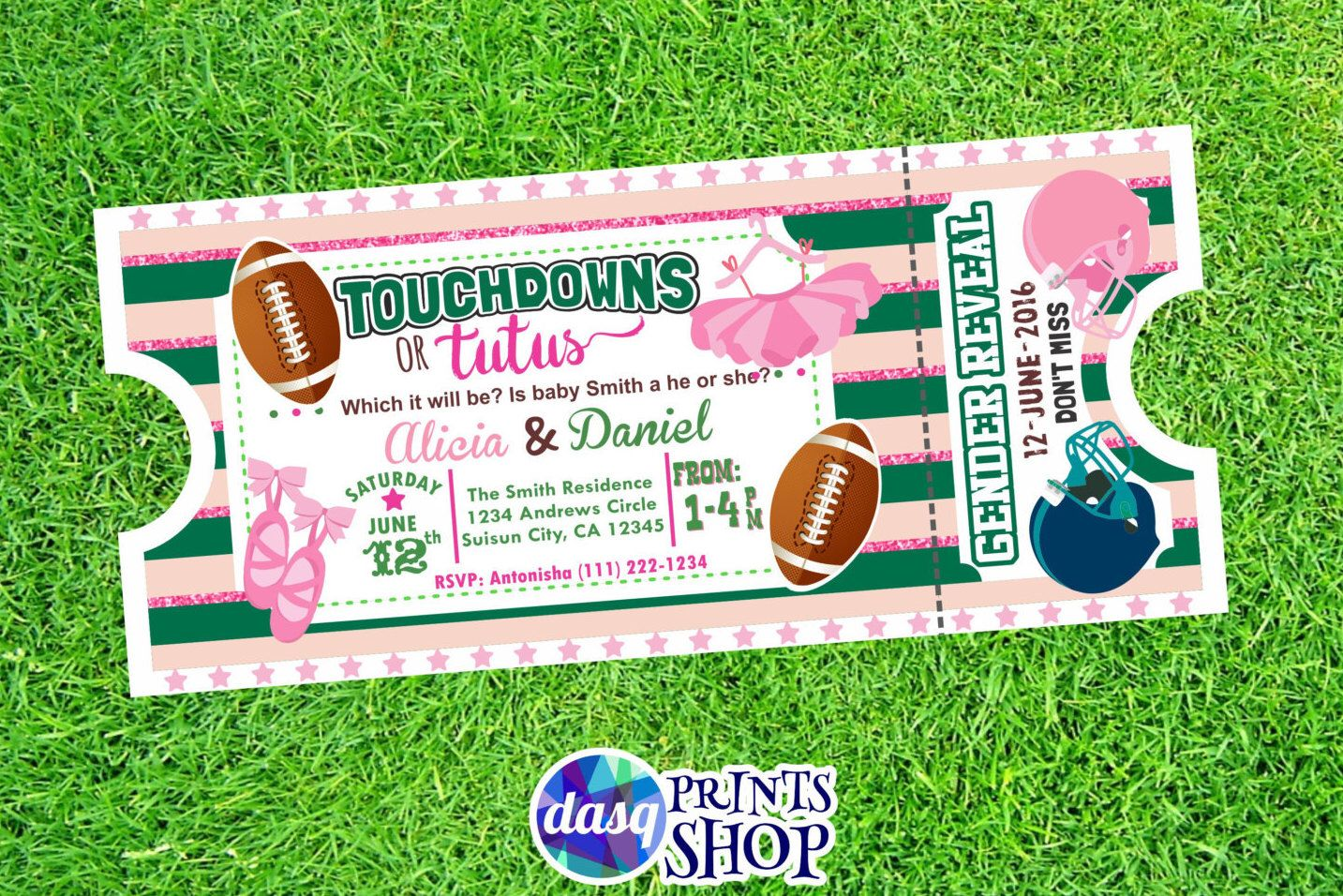 Baby Gender Reveal Touchdowns Or Tutus Gender Reveal Idea Fotball Shower Te Tutus Gender Reveal Baby Reveal Invitations Gender Reveal Party Decorations