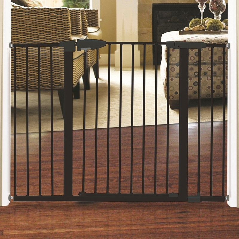 Extra Tall & Wide Safety Gate Black Metal baby gate