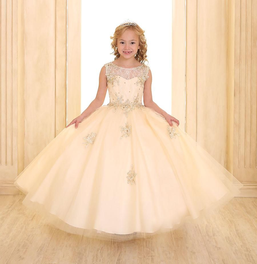Sleeveless flower girl dress with beaded lace accent bodice