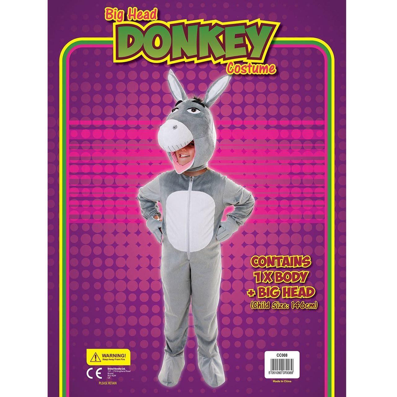 fancydressvip - Kids Unisex Donkey Jumpsuit Big Head Christmas Fancy ...