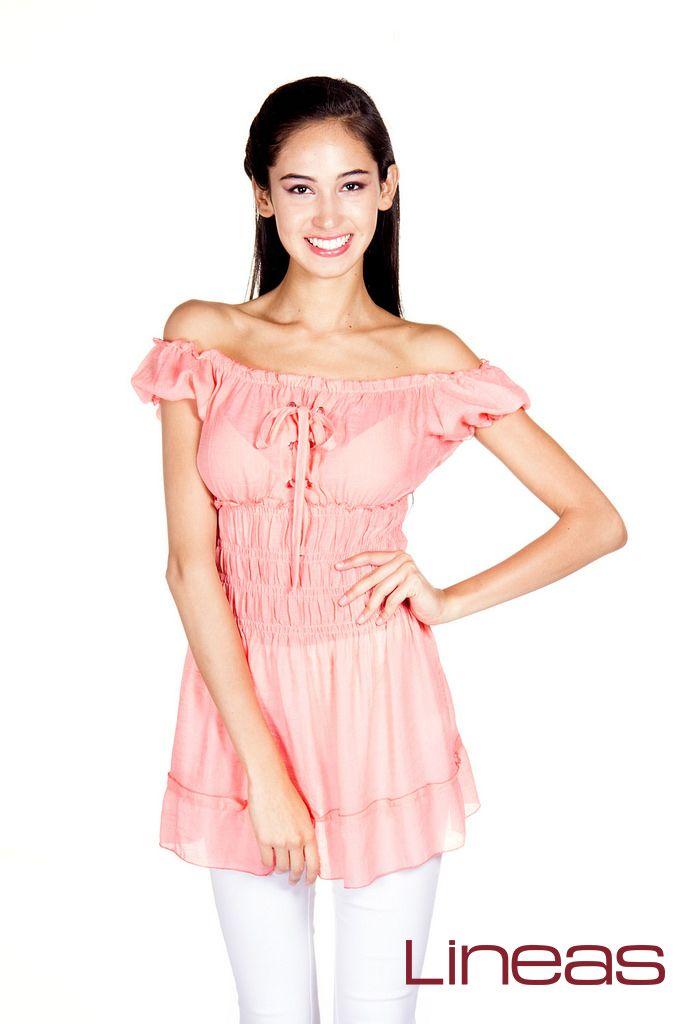 Blusa, Modelo 18596. Precio $100 MXN #Lineas #outfit #moda #tendencias #2014 #ropa #prendas #estilo #primavera #blusa