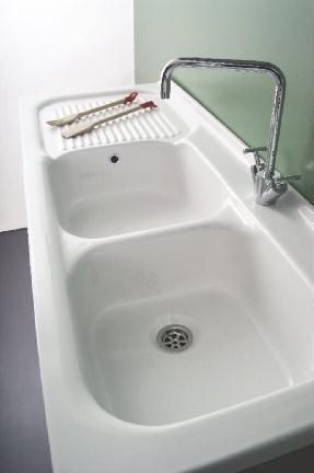 Lavello In Ceramica Per Mobile 120x50 Due Vasche E Scolapiatti Lavelli Lavandino Da Cucina Scolapiatti