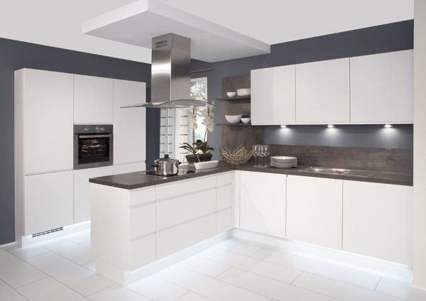 White Gloss Kitchen With Grey Worktops Google Search Home - Grey and white gloss kitchen