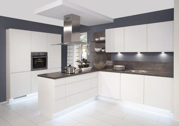 White Gloss Kitchen With Grey Worktops Google Search With Images White Modern Kitchen Modern Kitchen Kitchen Interior Design Modern