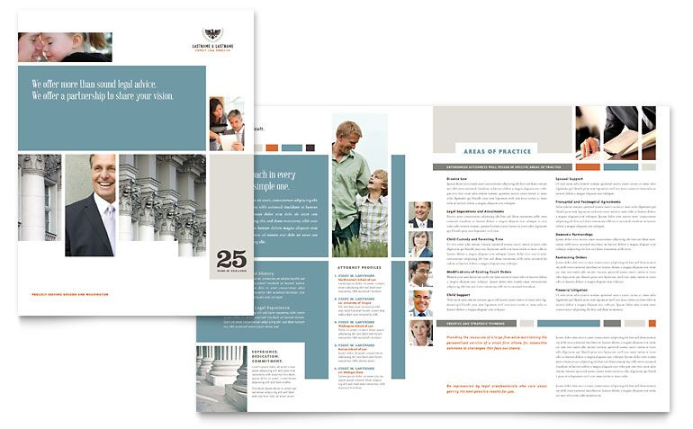 Family Law Attorneys Brochure Word Template Publisher Template - Brochure word template