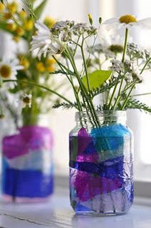 decoupage tissue paper onto glass for faux stain glass