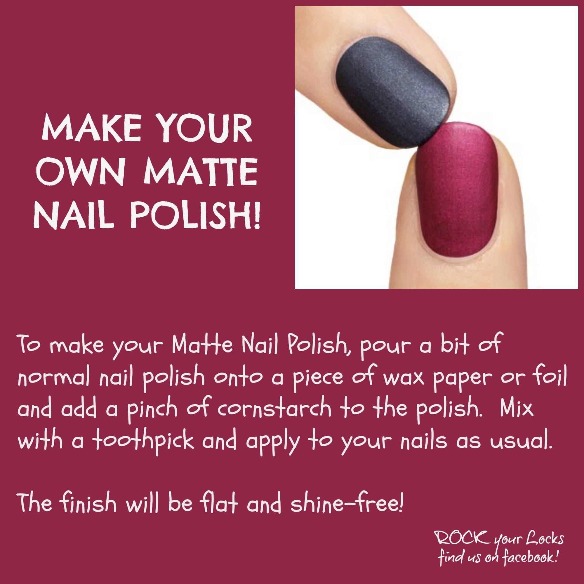 DIY Matte nail polish-not sure if this works but put corn starch ...