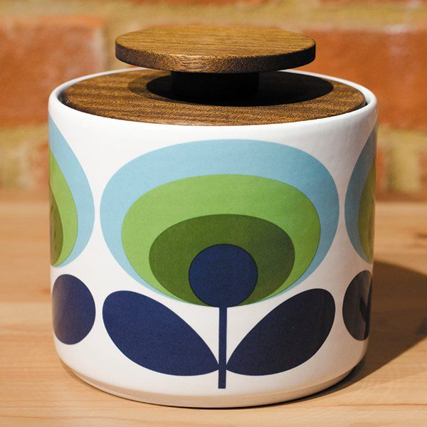 Orla Kiely 1 Litre Storage Jar Printed With Green And Blue 70s Oval