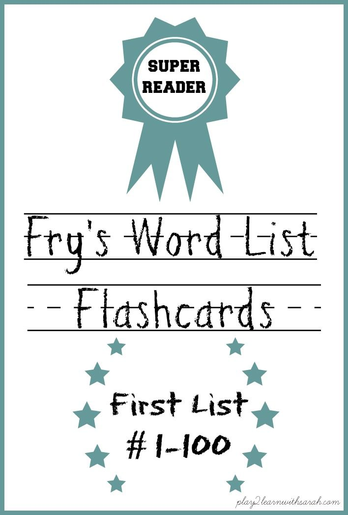 Fry List Flashcards | Free printable, Reading levels and Children s