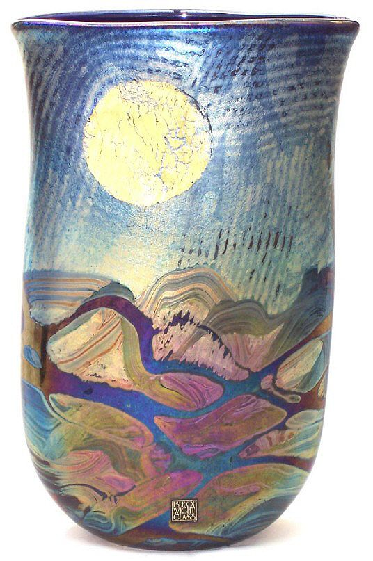 Michael Harris, Isle of Wight Glass- Sun and Moon vase, 30 cm high, front side