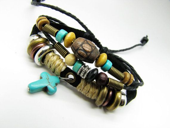 Adjustable Couple bracelets Cuff made of Leather
