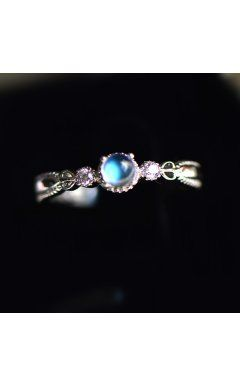 Delicate Heart Deco Ice Moonstone 925 Silver Promise Ring for Girlfriend