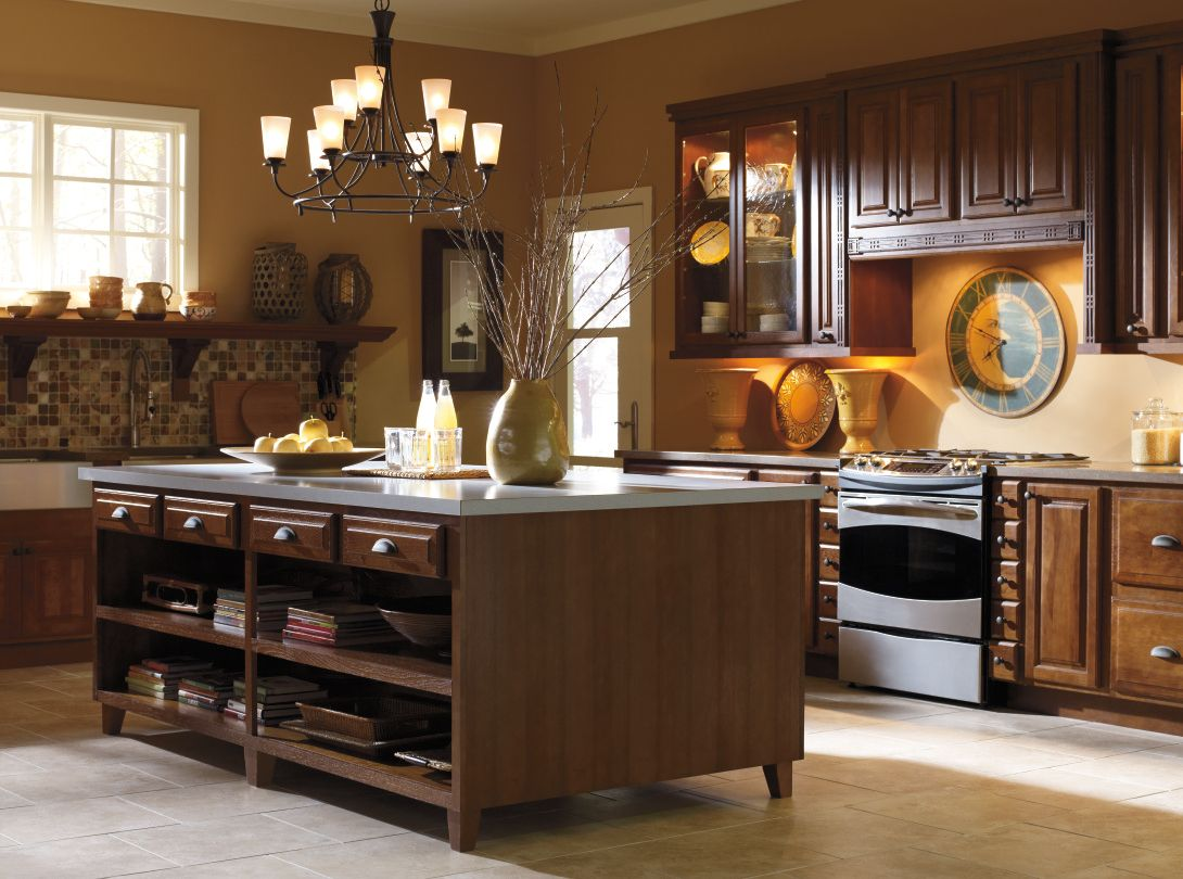 Bring Warmth Into Your Kitchen With The Hickory Palmer Doors With A Havana Finish By Schrock Cabinets Hickory Kitchen Cabinets Rustic Kitchen Decora Cabinets