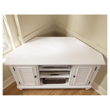 Media Console In Brushed White With 2 Shutter Style Doors And Three Open  Shelves.