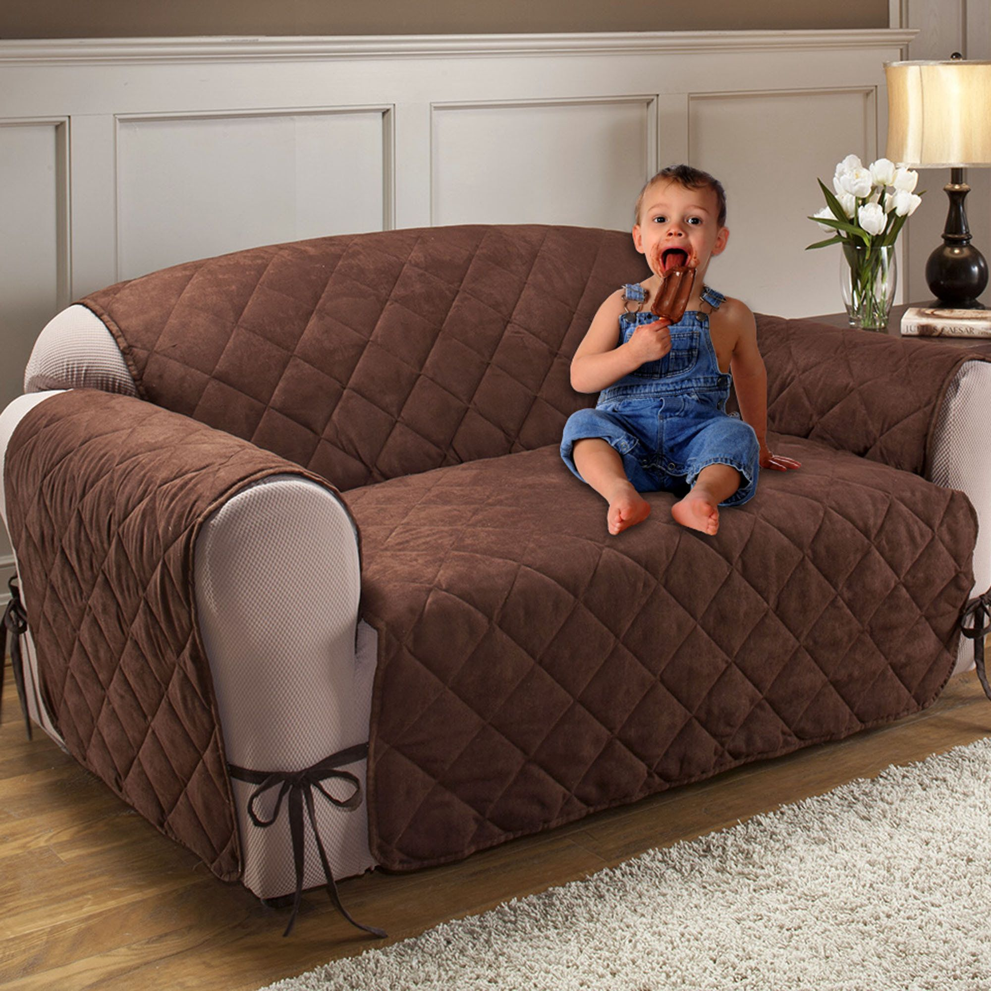 quilted embroidery sectional sofa couch slipcovers furniture protector cotton narrow depth corner sofas microfiber total cover with ties