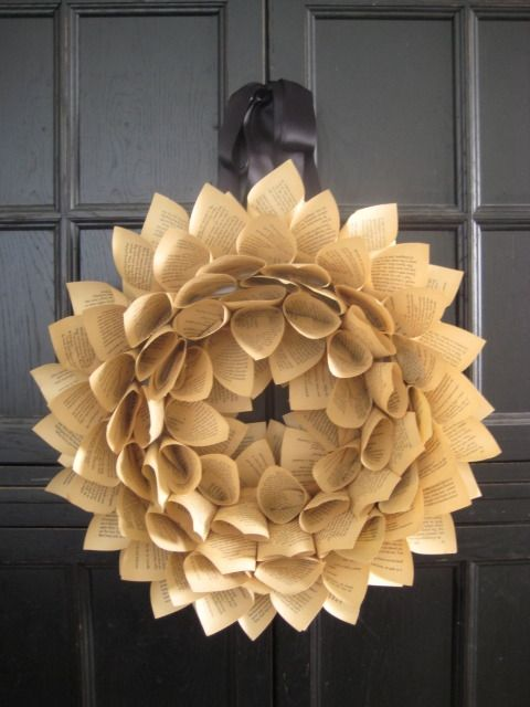Step by step instructions for making a book wreath.