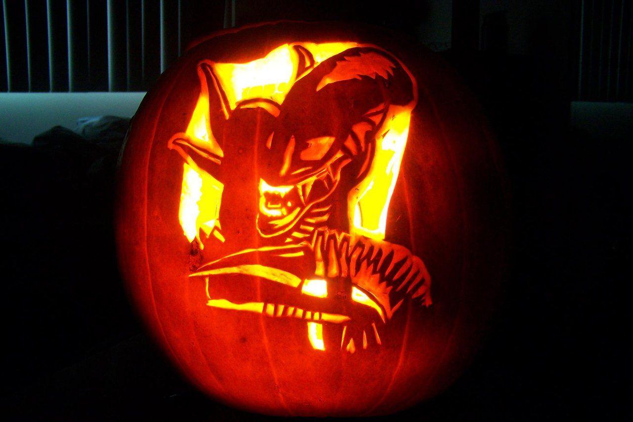 Xenomorph pumpkin carving pattern alien