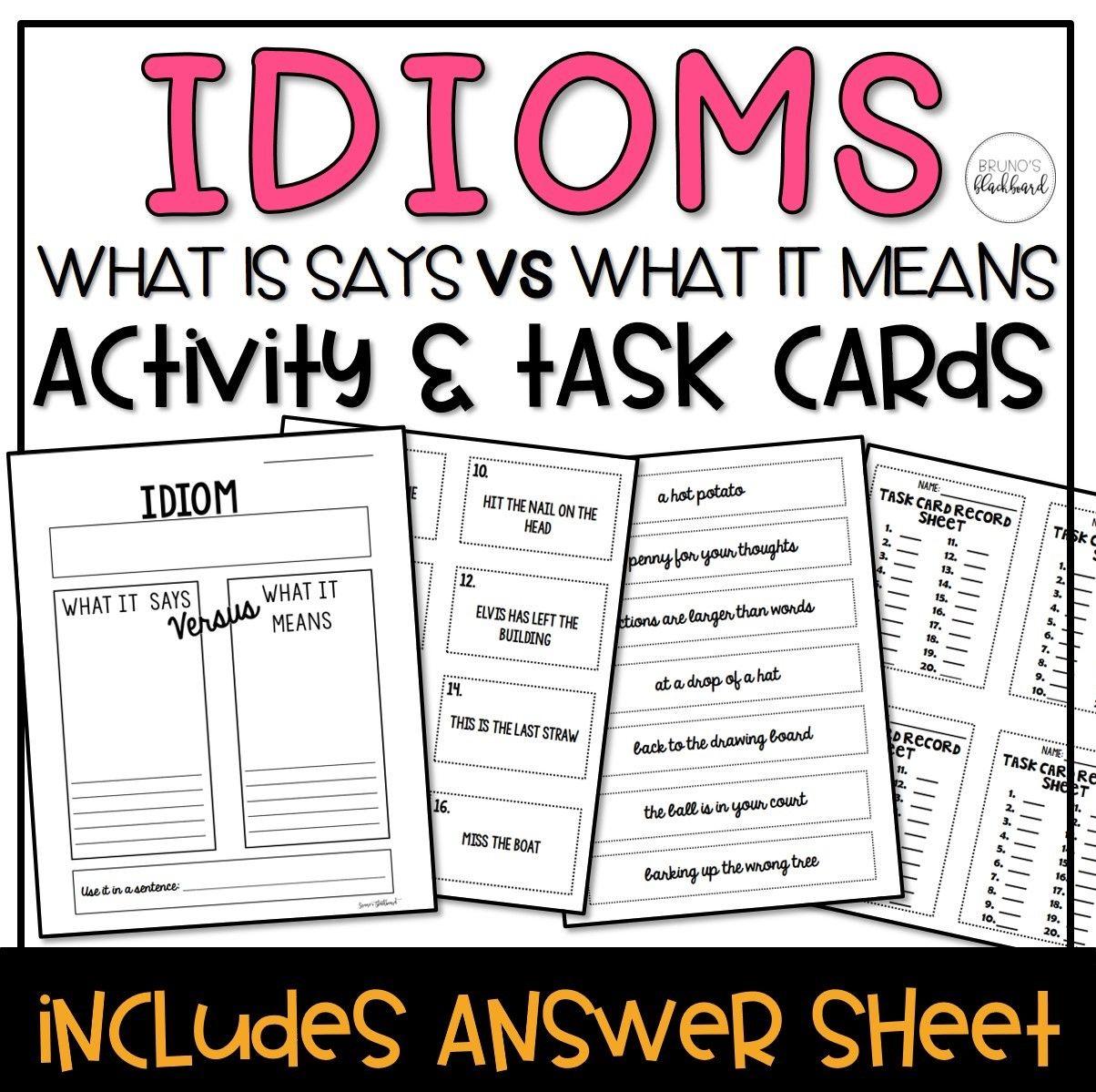 Idiom Visual Worksheet Amp Task Cards