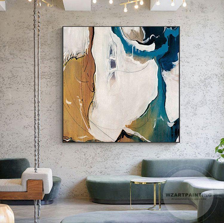Home Print Abstract Art Picture Modern Art Yellow Navy Blue Wall Home Decor Art