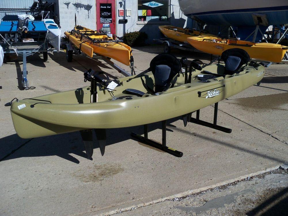 Used Hobie Mirage Pedal Kayak Outfitter Tandem Olive Color