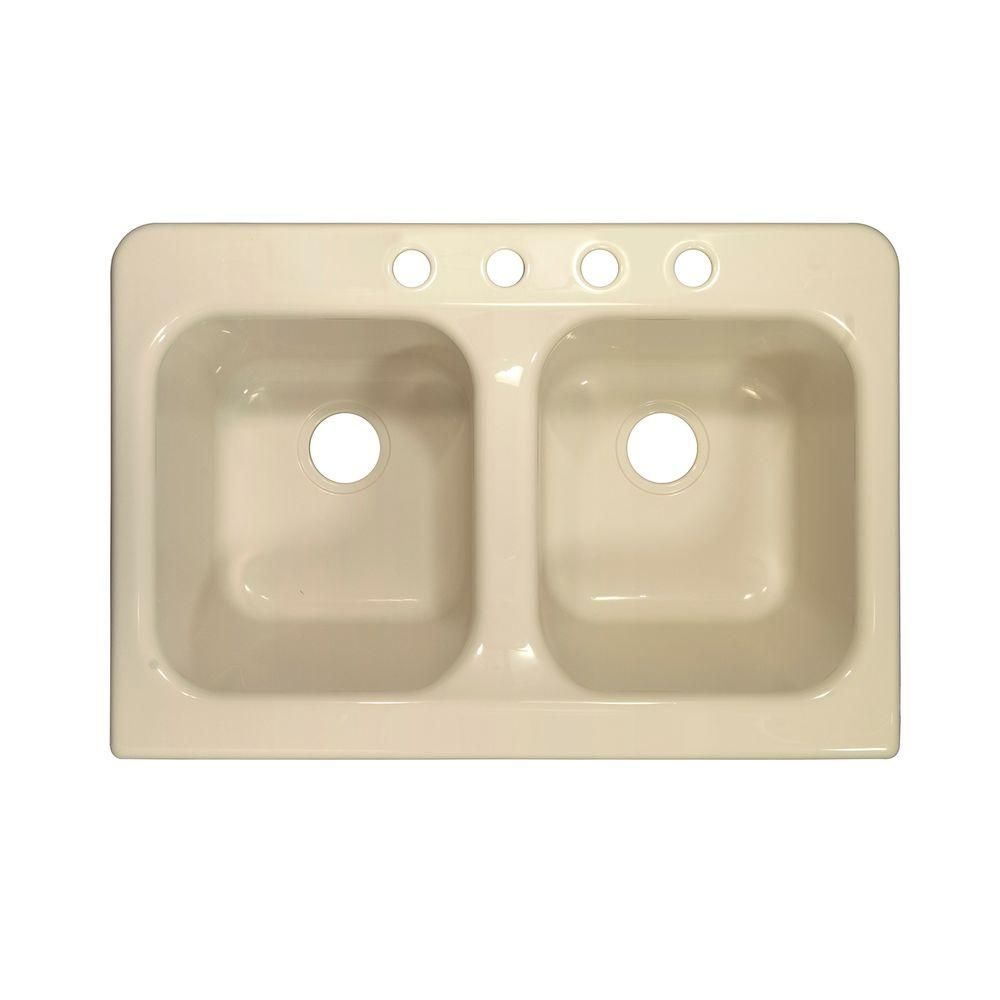 Apron Drop In Acrylic 34 In 4 Hole 50 50 Double Bowl Kitchen Sink