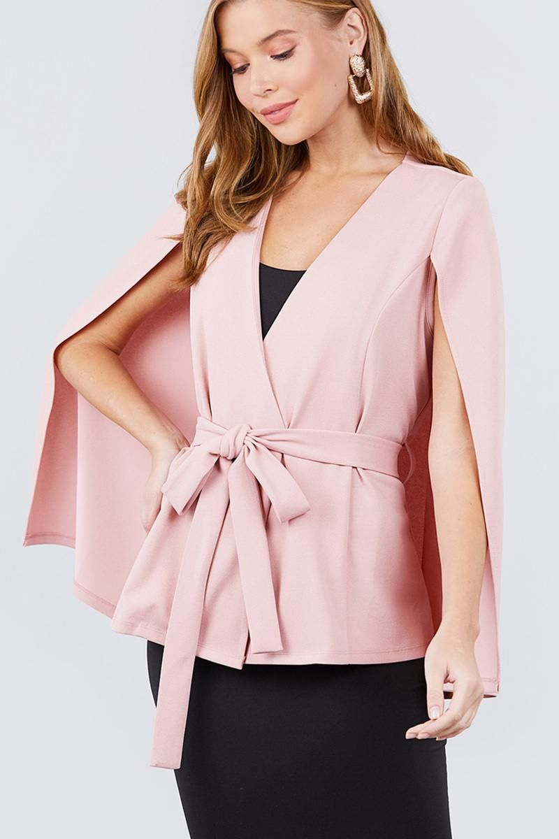 Imported S.M.L OPEN PEAKED FRONT w/BELT DETAIL CAPE JACKET 95% Rayon 5% Spandex Pink ACT Open Peaked Front W/belt Detail Cape Jacket split Item Measurements: SIZE SLength:25