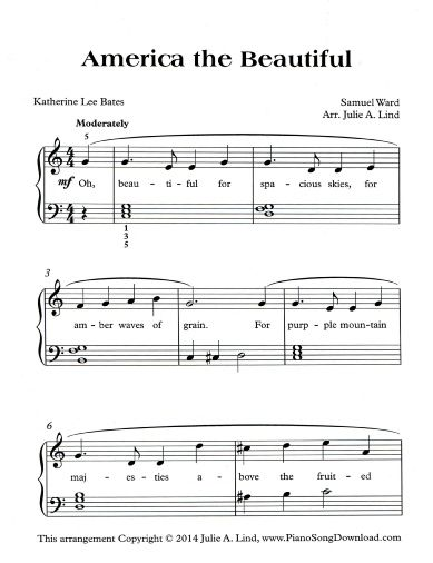 America The Beautiful Free Sheet Music To Celebrate July 4th