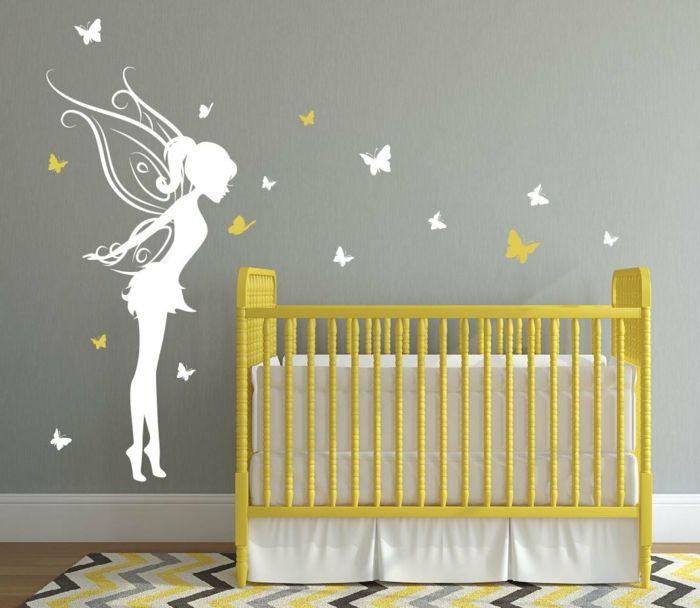 kinderzimmer gestaltung ideen gelb grünes bett fee weiß wanddeko ... - Wandgestaltung Babyzimmer