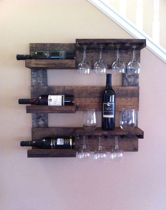 Wine Rack Rustic Wood Wine Holder Reclaimed Wood Wall Wine