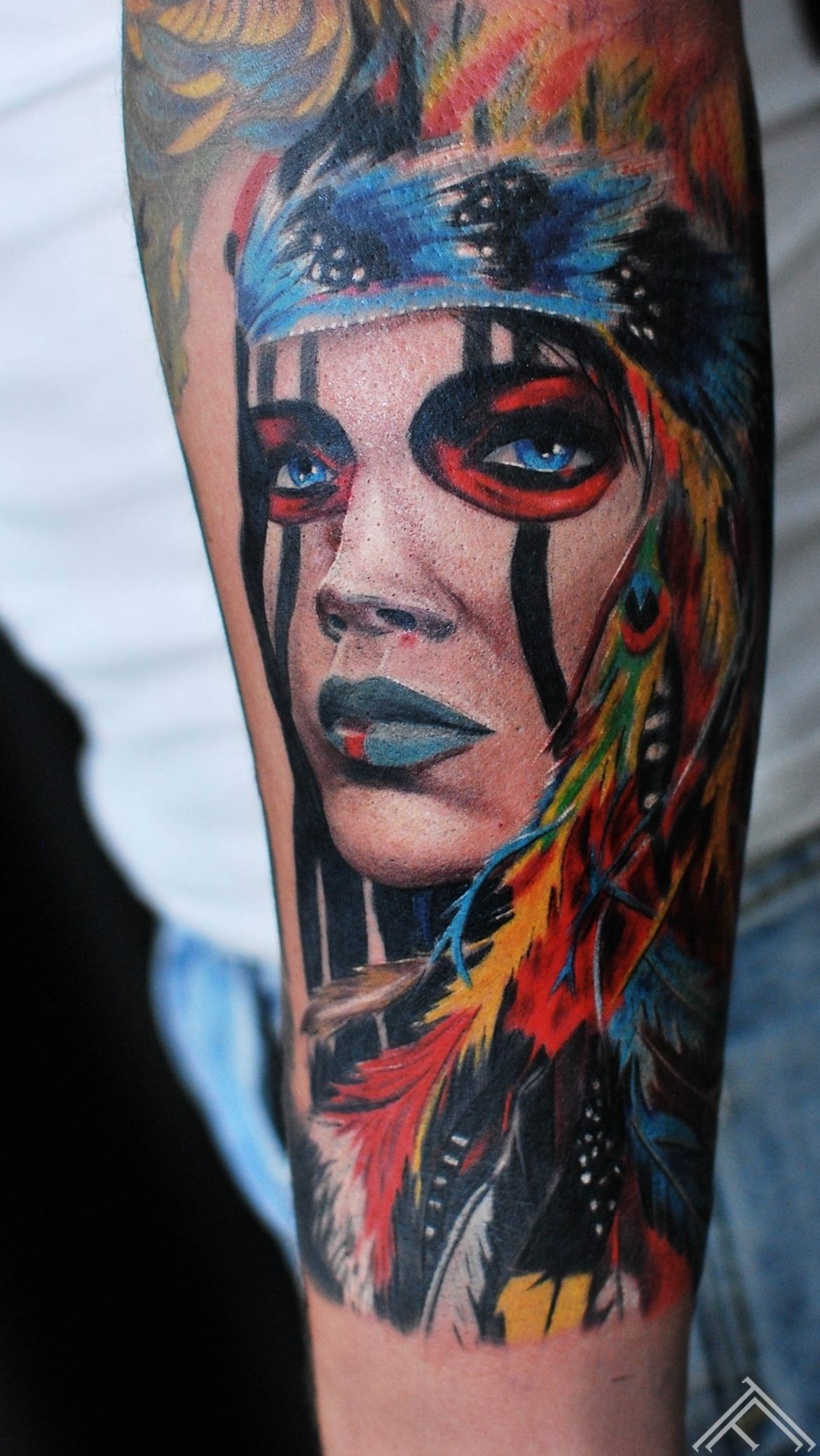 Indian Woman On Mans Arm Artist Janis Andersons Woman Portrait Womanportrait Womantattoo Portraittattoo Colortatt Portrait Tattoo Arm Tattoo Ink Tattoo