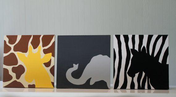 Jungle Nursery Wall Art Decor Safari Animals Giraffe Elephant Zebra Canvas Painting On Etsy