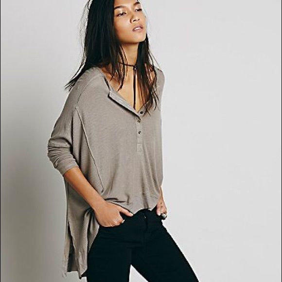 Free people waffle Henley Waffle Henley in black! Showed it in another color to show details! Worn a couple times and in good condition. Will SELL or TRADE for free people only! Free People Tops