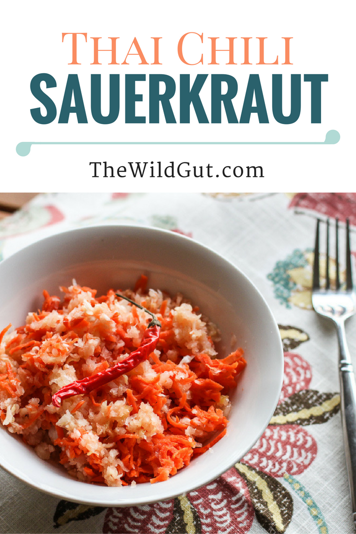 Spice up your sauerkraut with this Thai chili pepper sauerkraut recipe! Sauerkraut can improve your gut health and make your skin glow!