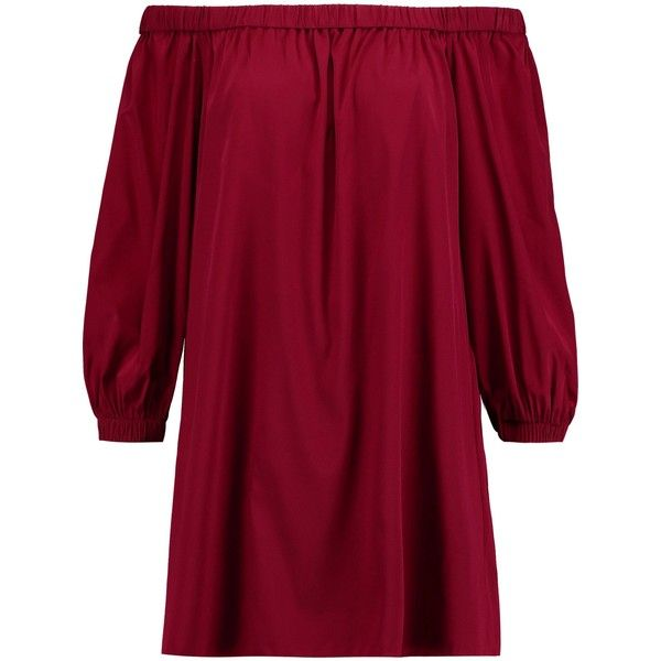 ALICE + OLIVIA   Desiree off-the-shoulder silk-blend mini dress ($220) ❤ liked on Polyvore featuring dresses, alice olivia dress, off the shoulder dress, burgundy off the shoulder dress, red mini dress and burgundy mini dress